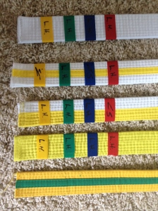 All my Taekwondo belts since I started in January.  Next up, Green Belt!